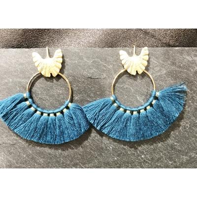 Boucles d'oreilles crochet frange bleu plaqué or - LA BELLE SIMONE