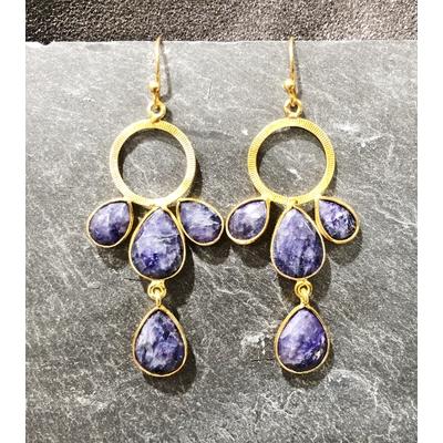 Boucles d'oreilles crochet lapis lazuli et plaqué or - La Belle Simone
