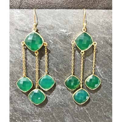 Boucles d'oreilles crochet agate verte et plaqué or - La Belle Simone