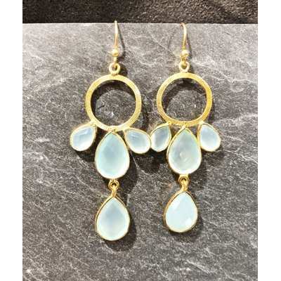 Boucles d'oreilles crochet quartz bleu et plaqué or - La Belle Simone