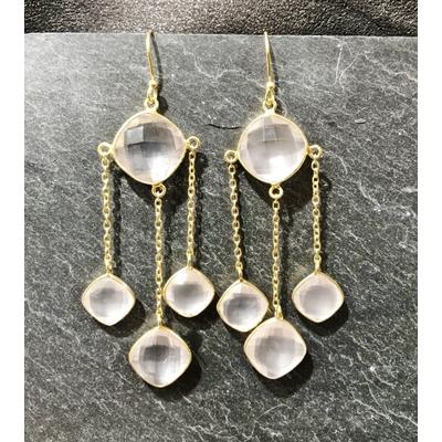 Boucles d'oreilles crochet cristal briolette et plaqué or - La Belle Simone