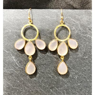 Boucles d'oreilles crochet quartz rose et plaqué or - La Belle Simone
