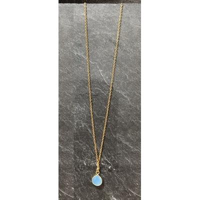 Collier pierre calcédoine bleu forme goutte acier inoxydable - La Belle Simone Bijoux