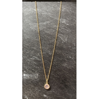 Collier pierre calcédoine rose forme goutte acier inoxydable - La Belle Simone Bijoux