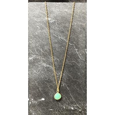 Collier pierre calcédoine verte forme goutte acier inoxydable - La Belle Simone Bijoux