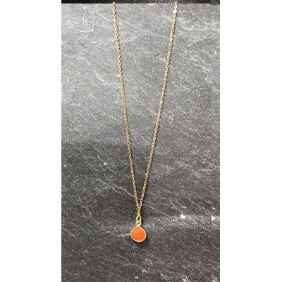 Collier pierre cornaline forme goutte acier inoxydable - La Belle Simone Bijoux