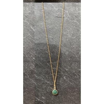 Collier pierre malachite forme goutte acier inoxydable - La Belle Simone Bijoux