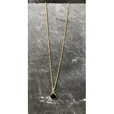 Collier pierre onyx noir forme goutte acier inoxydable - La Belle Simone Bijoux