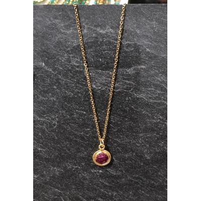 Collier pierre racine de rubis forme ronde acier inoxydable - La Belle Simone Bijoux