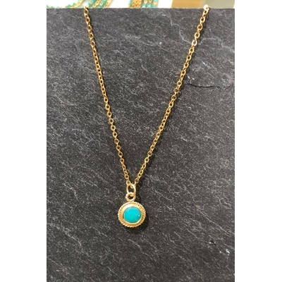 Collier pierre turquoise forme ronde acier inoxydable - La Belle Simone Bijoux