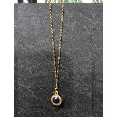Collier pierre lapis lazuli forme ronde acier inoxydable - La Belle Simone Bijoux