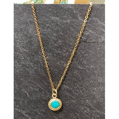 Collier pierre turquoise forme goutte acier inoxydable - La Belle Simone Bijoux