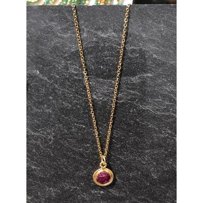 Collier pierre racine de rubis forme goutte acier inoxydable - La Belle Simone Bijoux