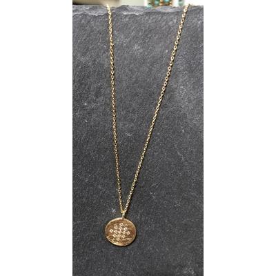 Collier Hope médaille Lucky zirconium or - Hanka In