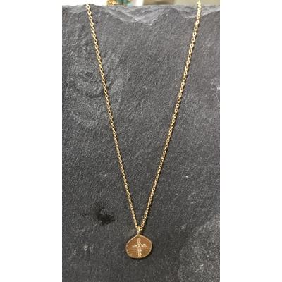 Collier Hope médaille Croix zirconium or - Hanka In