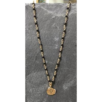 Collier perles médaille Croix zirconium noir or - Hanka In
