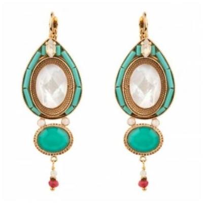 Boucles d'oreilles dormeuses sophistiquées nacre | turquoise Collection Fujita - Satellite Paris