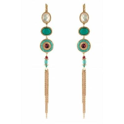Boucles d'oreilles dormeuses tendance nacre facettée | turquoise Collection Fujita - Satellite Paris