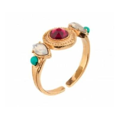Bague féminine métal doré cristal Swarovski et turquoise | rouge Collection Fujita - Satellite Paris