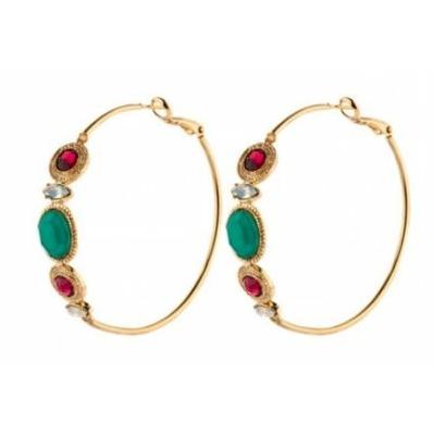 Boucles d'oreilles créoles cristaux Swarovski et turquoise | rouge Collection Fujita - Satellite Paris