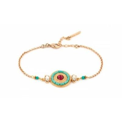 Bracelet bohème métal doré et cristal Swarovski | turquoise Collection Fujita - Satellite Paris