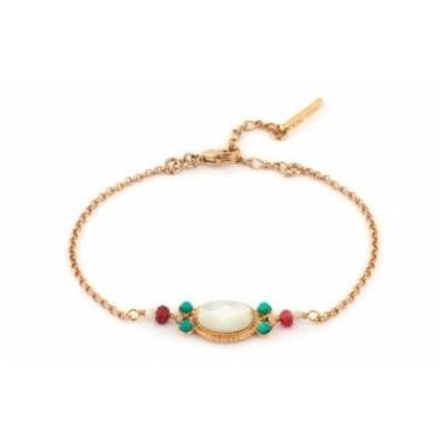 Bracelet glamour métal doré jade et turquoise | nacre Collection Fujita - Satellite Paris
