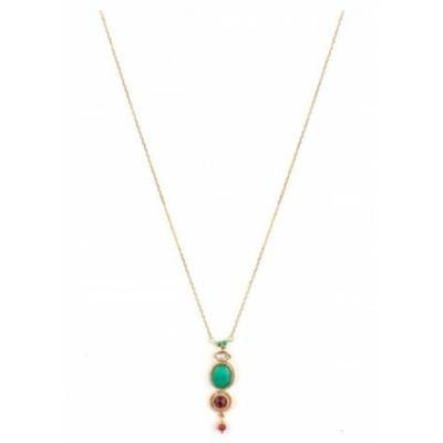 Collier pendentif tendance métal doré cristal Swarovski | rouge Collection Fujita - Satellite Paris