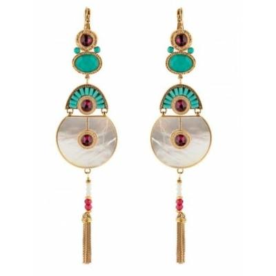 Boucles d'oreilles dormeuses ethniques cristal Swarovski | nacre Collection Fujita - Satellite Paris