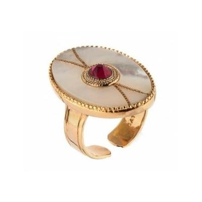 Bague ethnique métal doré et cristal Swarovski | nacré Collection Fujita - Satellite Paris