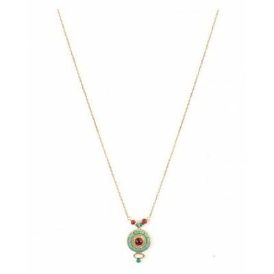 Collier pendentif féminin métal doré et cristal Swarovski | rouge Collection Fujita - Satellite Paris