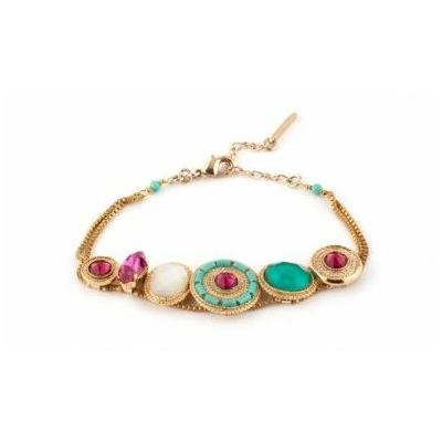 Bracelet tendance métal doré et cristaux Swarovski | turquoise Collection Fujita - Satellite Paris