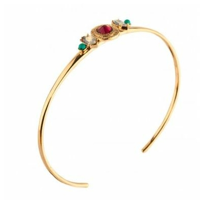 Bracelet jonc chic cristal Swarovski et turquoise | rouge Collection Fujita - Satellite Paris