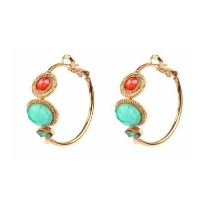 Boucles d'oreilles créoles féminines amazonite | turquoise Collection Fujita - Satellite Paris