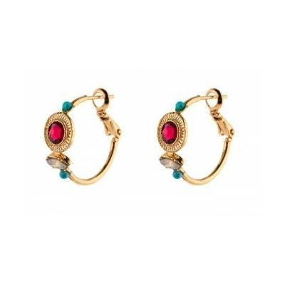 Boucles d'oreilles créoles chic turquoise | rouge Collection Fujita - Satellite Paris