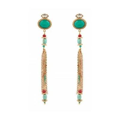 Boucles d'oreilles percées tendance cristaux | turquoise Collection Fujita - Satellite Paris