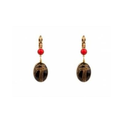 Boucles d'oreilles dormeuses mystérieuses onyx | noir Collection Sirine - Satellite Paris