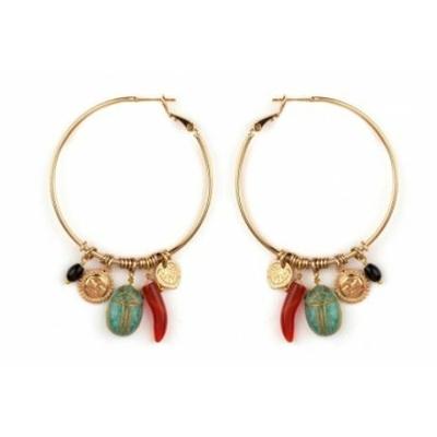 Boucles d'oreilles créoles percées bohèmes charms | turquoise Collection Sirine - Satellite Paris