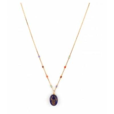 Collier pendentif mystérieux scarabée lapis lazuli | bleu Collection Sirine - Satellite Paris