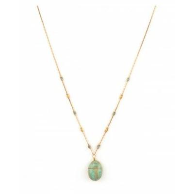 Collier pendentif mystérieux scarabée amazonite | turquoise Collection Sirine - Satellite Paris