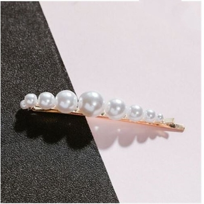 Barrette cheveux perles blanches forme droite 9 perles - La Belle Simone Bijoux