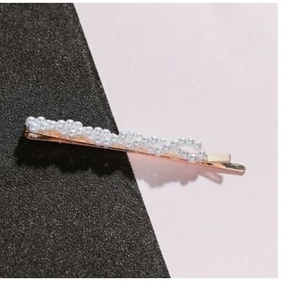 Barrette cheveux perles blanches forme droite torsadé - La Belle Simone Bijoux