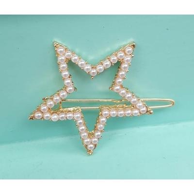Barrette cheveux perles blanches forme étoile 5 branches - La Belle Simone Bijoux