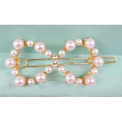 Barrette cheveux perles blanches forme 8 - La Belle Simone Bijoux