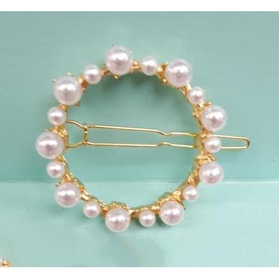 Barrette cheveux perles blanches forme cercle - La Belle Simone Bijoux