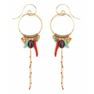 Boucles d'oreilles percées mode charms lapis lazuli | multicolores Collection Sirine - Satellite Paris