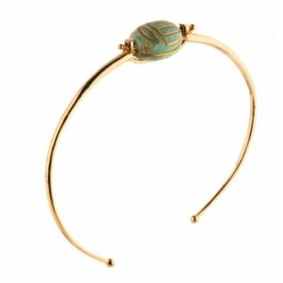 Bracelet jonc fantaisie métal doré scarabée amazonite | turquoise Collection Sirine - Satellite Paris