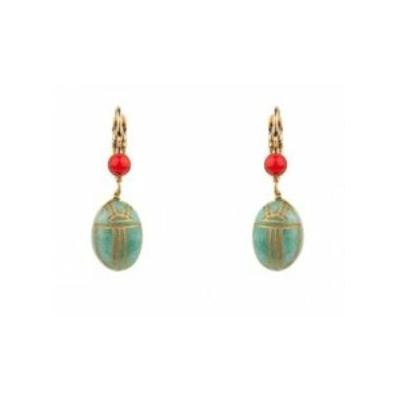Boucles d'oreilles dormeuses mystérieuses amazonite | turquoise Collection Sirine - Satellite Paris