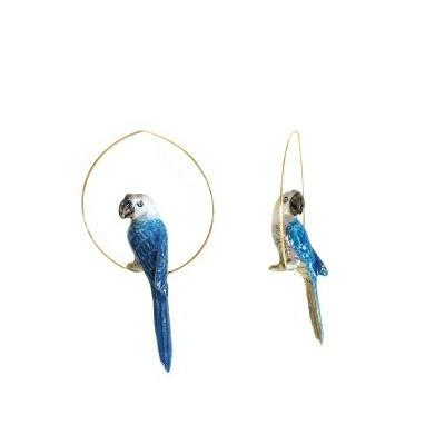 """Boucles d'oreilles créoles Perroquet Bleu & Gris """"CANCÚN"""" - NACH"""