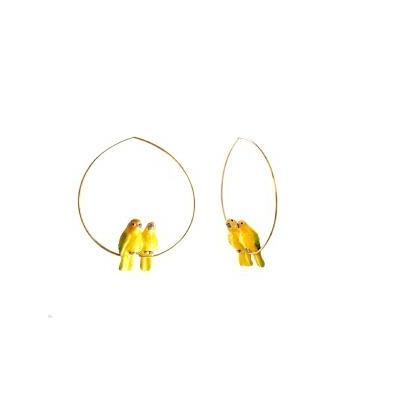 """Boucles d'oreilles créoles Couple de Perroquets Verts """"IZAMAL"""" - NACH"""