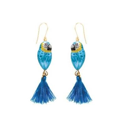 """Boucles d'oreilles Perroquet Bleu avec pompon """"MÉXICO"""" - NACH"""